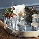 Set Of Four Heart Bucket Tea Light Holders   lighting