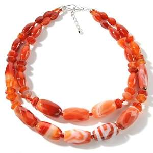 Jay King Red Lace Agate Sterling Silver 19 3/4 Necklace