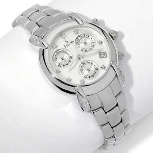 Diamond Accented Mother of Pearl Chronograph Bracelet Watch