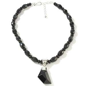 Jay King Black Tourmaline Sterling Silver Pendant with 18 Necklace at
