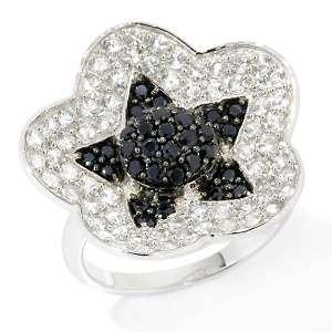 Sima K 1.66ct Black and White Sapphire 14K White Gold Star Ring at