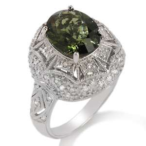 75ct Moldavite and Diamond Sterling Silver Oval Ring