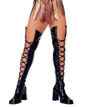 Black Patent Lace up Boots $42.99 In Stock Black Lace Thigh High Boot