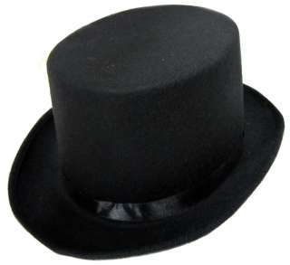 Black Felt Top Hat  Costume Top Hat for Victorian, Steampunk, Dance