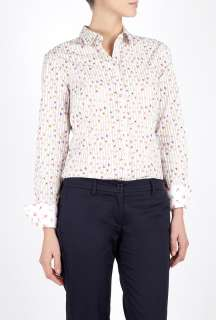 Paul Smith Black  Cotton Stripe Floral Print Shirt by Paul Smith