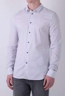 Light Grey Stripe Split Cuff Shirt by McQ Alexander McQueen   Grey
