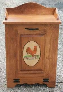 Amish Handmade Wood Trash Bin Garbage Tilt Door Rooster