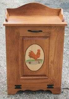 Amish Handmade Wood Trash Bin Garbage Tilt Door Rooster