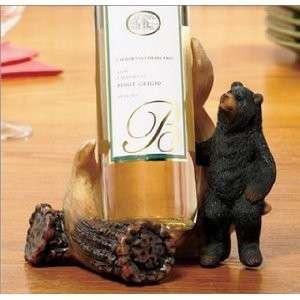 Black Bear Deer Antler Wine Bottle Holder Lodge Cabin Decor NEW