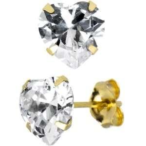 14K Yellow Gold .80 ct Cubic Zirconia Heart Stud Earrings Jewelry