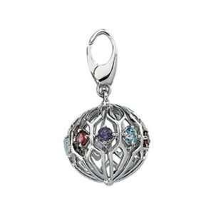 14K White Gold Sphere Genuine Multicolor Gemstone Charm Jewelry