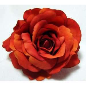 Bright Orange Rose Flower Hair Clip and Pin Everything