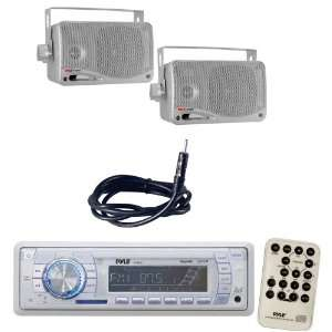 Pyle Marine Radio Receiver, Speaker and Cable Package   PLMR18 AM/FM