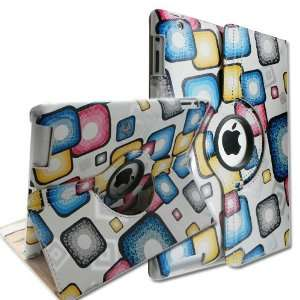 360 Degrees Rotating Stand Smart Cover PU Leather Case for Apple iPad