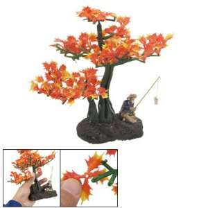 Como Fish Tank Aquascaping Orange Yellow Detachable Tree