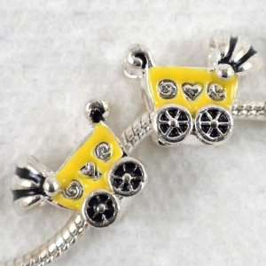 Yellow Baby Cart Large Hole Charm Beads Fit Bracelet ~Jewelry Finding