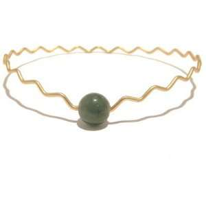 Aventurine Bracelet 07 Bangle Green Gold Zig Zag Orb Crystal Gemstone