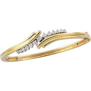 DIAMOND BANGLE BRACELET 14K Yellow/White Gold 1/2 CT TW