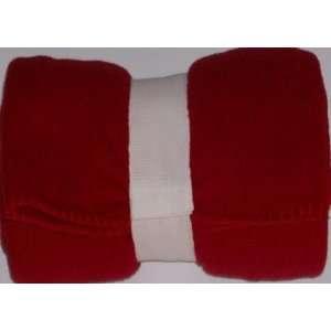 Rich Red Fleece Throw Blanket Soft Cuddly White Stitch