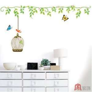 Home Decor Mural Art Wall Paper Stickers  Butterflies and Bird cages