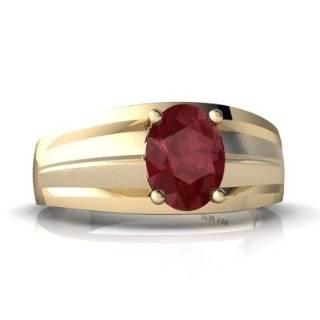 14K White Gold Oval Genuine Ruby Mens Mens Ring Size 10
