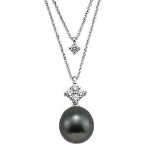 Tahitian Black Pearl Necklace with Diamonds in 14K White