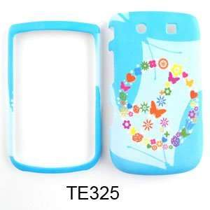FOR BLACKBERRY TORCH 9800 CASE PEACE SIGN FLOWERS BLUE