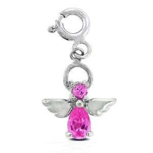 Bling Jewelry Sterling Silver CZ Dangling Charm Clips   Angel Jewelry