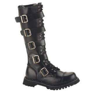 Knee High Boot 20 Eyelet 5 Strap Gothic Punk Boot Steel Toe Shoes