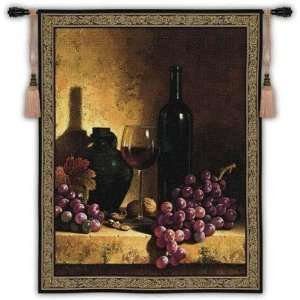 Wine Bottle with Grape & Walnuts Lg Wall Hanging   53 x