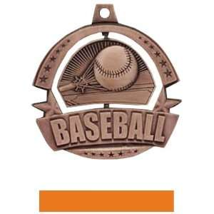 Medals BRONZE MEDAL / ORANGE RIBBON 2.25 SPINNER Custom Baseball MEDAL