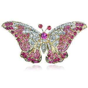 Rhinestone Gold Tone Butterfly Insect Bug Design Pin Brooch: Jewelry