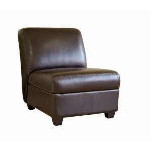 Dark Brown Full Leather Armless Club Chair