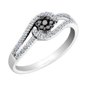 Black Diamond Flower Ring 1/4 Carat (ctw) in 14K White Gold, Size 7.5