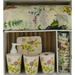 Floral Bathroom Accessory Set Curtain Toothbrush Soap