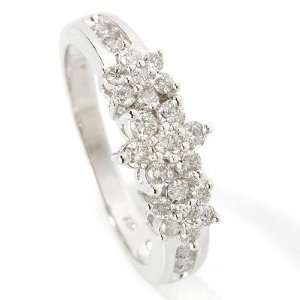 14K White Gold Diamond Cluster Ring  Size 7 Jewelry
