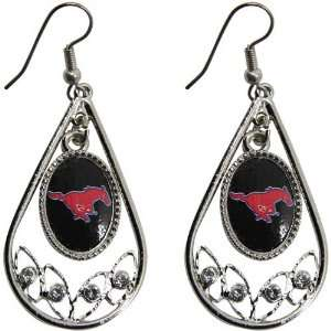 SMU Mustangs Ladies Tear Drop Crystal Dangle Earrings Jewelry