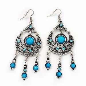 Burn Silver Blue Crystal Chandelier Earrings   9cm Drop Jewelry