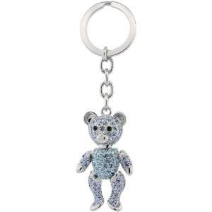Palladium plated Swarovski Crystal Movable Teddy Bear Key