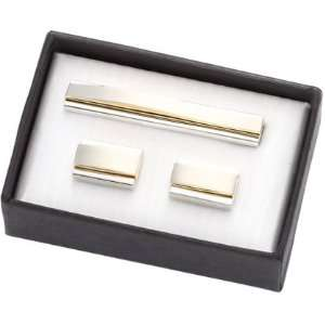 Gold and Silver Contemporary Cuff LInks & Tie Bar Set Everything Else