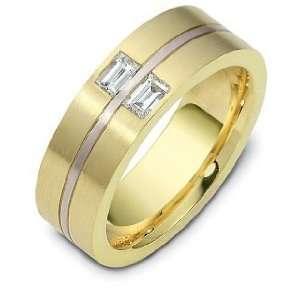 14 Karat Yellow Gold and Titanium Wedding Band   7 Dora Rings
