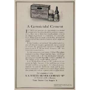 1922 Vintage Ad S. S. White Silver Dental Cement Tooth