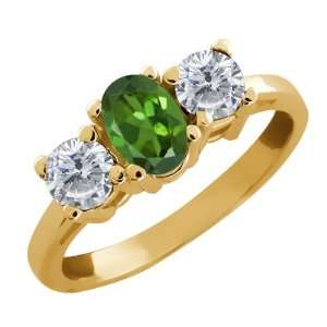 0.90 Ct Oval Green Tourmaline and White Diamond 14k Yellow