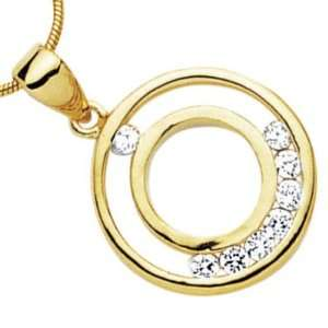 18K Gold Plated Clear Cubic Zirconia Double Open Disc Circle Pendant