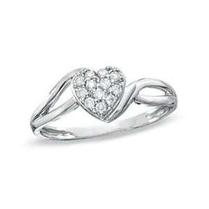 Gordons Jewelers Diamond Heart Split Shank Ring in 10K White Gold 1/8