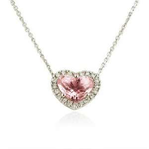 Diamond and Pink Quartz 14k White Gold Heart Pendant Necklace Jewelry