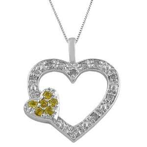 Cttw Diamond, Citrine 925 Silver Open Heart Pendant Necklace Jewelry