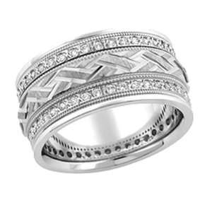 10.00 Millimeters White Gold Diamond Wedding Band Ring