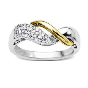 Sterling Silver and 14k Yellow Gold Diamond Crossover Ring (1/5