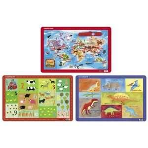 , Set of Three   World Map, Dinosaur, and Barnyard Toys & Games